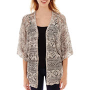 It's Our Time Elbow-Sleeve Open-Front Marled Cardigan