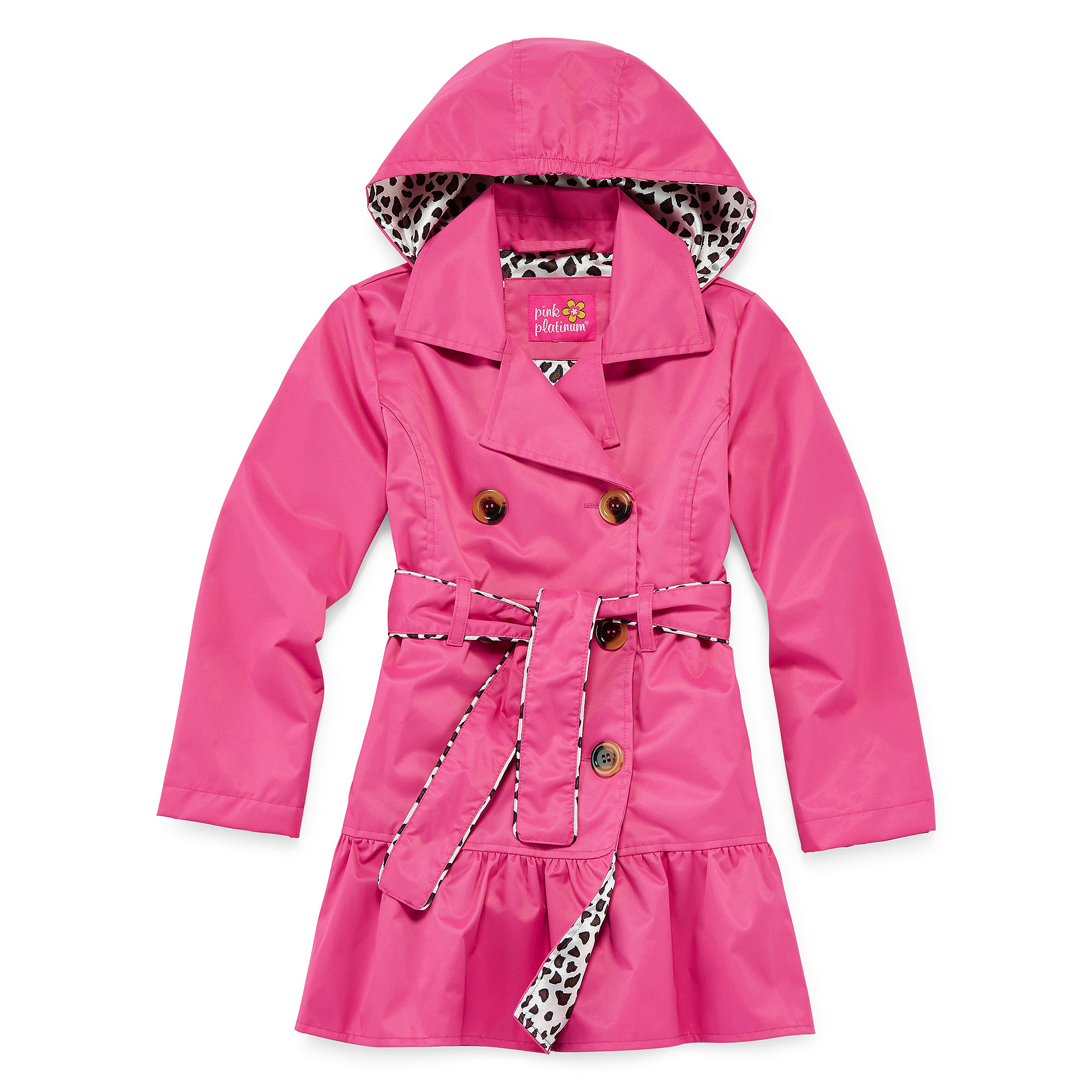 Pink Platinum Hooded Trench Coat - Preschool Girls 4-6x plus size,  plus size fashion plus size appare