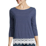 St. John's Bay® 3/4-Sleeve Lace-Hem Top