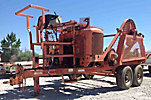 1989 LA Woods T/A Tensioner, gas, trailer mtd, with level wind