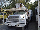 Aerial Lift AL-50-5-1C-4G, Over-Center Bucket Truck, mounted behind cab on, 1994 Ford F700 Chipper Dump Truck