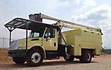 Aerial Lift AL-605051L4H, Over-Center Bucket Truck, mounted behind cab on, 2007 International 4300 Chipper Dump Truck