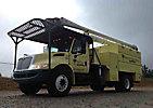 Aerial Lift AL-605051L4H, Over-Center Bucket Truck, mounted behind cab on, 2008 International 4300 DuraStar Chipper Dump Truck
