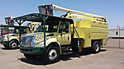 Aerial Lift of CT AL60/50-5-1L-4H, Over-Center Bucket Truck mounted behind cab on 2007 International 4300 Chipper Dump Truck