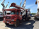 Aerial Lift of CT AL62/52-26U-24L-4HRM, Over-Center Bucket Truck, rear mounted on, 2001 International 4700 Flatbed Truck
