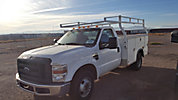 Altec A50E-OC, Over-Center Material Handling Bucket Truck, rear mounted on, 2008 Freightliner M2-106 Utility Truck