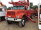 Altec A57E-OC, Material Handling Bucket Truck, center mounted on, 2002 International 4800 4x4 Flatbed/Utility Truck
