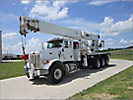 Altec AC38-127S, Hydraulic Crane, rear mounted on, 2012 Peterbilt 365 Tri-Axle Flatbed Truck