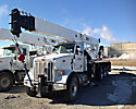 Altec AC38-127S-EJ, Hydraulic Crane, rear mounted on, 2013 Peterbilt 386 Tri-Axle Flatbed Truck