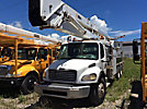 Altec AH100, Articulating & Telescopic Material Handling Bucket Truck rear mounted on 2003 Freightliner M2 106 T/A Flatbed/Utility Truck