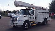 Altec AM50, Over-Center Material Handling Bucket Truck, rear mounted on, 2003 International 4300 Utility Truck