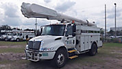 Altec AM55, Over-Center Material Handling Bucket Truck, rear mounted on, 2003 International 4300 Utility Truck