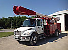 Altec AM55, Over-Center Material Handling Bucket Truck rear mounted on 2005 Freightliner M2 106 Flatbed/Utility Truck