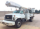 Altec AM650, Over-Center Material Handling Bucket Truck rear mounted on 2002 Chevrolet C8500 Flatbed/Utility Truck