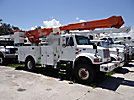 Altec AM855-MH, Over-Center Material Handling Bucket Truck rear mounted on 2001 International 4800 4x4 Utility Truck