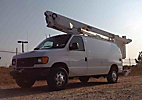 Altec AT200-AV, Telescopic Non-Insulated Bucket Van, mounted behind cab on, 2007 Ford E350 Cargo Van