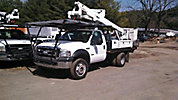 Altec AT37G, Articulating & Telescopic Bucket Truck, mounted behind cab on, 2006 Ford F550 4x4 Flatbed Truck