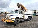 Altec D1090-BR, Digger Derrick corner mounted on 1994 International 4900 T/A Utility Truck