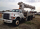 Altec D2045-TB, Digger Derrick mounted behind cab on 1997 Ford F800 T/A Flatbed Truck