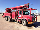 Altec D2045-TR, Digger Derrick, rear mounted on, 1998 Freightliner FL80 T/A Flatbed/Utility Truck