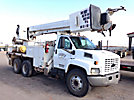 Altec D2050-BR, Digger Derrick, rear mounted on, 2003 Chevrolet C8500 T/A Flatbed/Utility Truck
