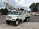 Altec D3060-TR, Digger Derrick, rear mounted on, 2002 International 4900 6x6 Flatbed/Utility Truck