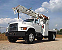 Altec D842-TR, Digger Derrick, rear mounted on, 1995 Ford F800 Flatbed/Utility Truck