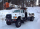 Altec D842A-TC, Digger Derrick center mounted on 1995 Ford F800 4x4 Flatbed Truck