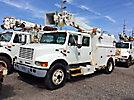Altec D845-ABC, Digger Derrick, corner mounted on, 2001 International 4900 Crew-Cab Enclosed Utility Truck