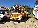 Altec D945-BR, Digger Derrick rear mounted on 2001 International 4700 Flatbed/Utility Truck
