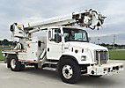 Altec D945-BR, Digger Derrick rear mounted on 2003 Freightliner FL80 Flatbed/Utility Truck