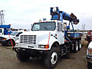 Altec D945-TB, Digger Derrick, mounted behind cab on, 2002 International 4900 6x6 Flatbed Truck