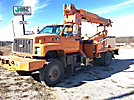 Altec D945-TB, Digger Derrick mounted behind cab on 1997 Chevrolet C7500 4x4 Flatbed Truck