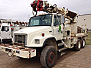 Altec D945-TR, Digger Derrick, rear mounted on, 2001 Freightliner FL80 6x6 Flatbed/Utility Truck