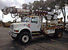 Altec D945-TR, Digger Derrick, rear mounted on, 2001 International 4800 4x4 Flatbed/Utility Truck