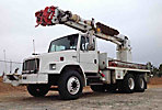 Altec D947-BC, Digger Derrick, corner mounted on, 2002 Freightliner FL80 T/A Utility Truck