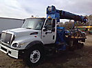 Altec DM45-TB, Digger Derrick mounted behind cab on 2006 International 7400 T/A Flatbed Truck
