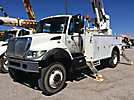 Altec DM47-TR, Digger Derrick rear mounted on 2005 International 7300 4x4 Flatbed/Utility Truck