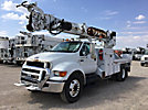 Altec DM47-TR, Digger Derrick rear mounted on 2008 Ford F750 Flatbed/Utility Truck