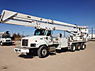Altec HL125, Articulating & Telescopic Material Handling Bucket Truck, rear mounted on, 2007 International 5600i Tri-Axle Flatbed/Utility Truck