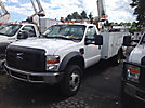 Altec L37MH, Over-Center Material Handling Bucket Truck mounted behind cab on 2008 Ford F550 Service Truck