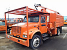 Altec LB650A, Over-Center Bucket Truck, mounted behind cab on, 2000 International 4700 Chipper Dump Truck