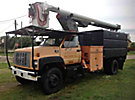 Altec LRIV-50, Over-Center Bucket Truck, mounted behind cab on, 1997 GMC C7500 Chipper Dump Truck