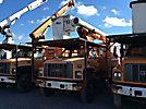 Altec LRV-55, Over-Center Bucket Truck, mounted behind cab on, 2002 GMC C7500 Chipper Dump Truck