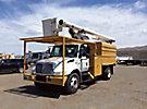 Altec LRV-55, Over-Center Bucket Truck, mounted behind cab on, 2003 International 4200 Chipper Dump Truck