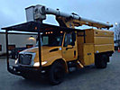 Altec LRV-55, Over-Center Bucket Truck, mounted behind cab on, 2003 International 4200 Dump Chipper Truck