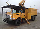 Altec LRV-55, Over-Center Bucket Truck, mounted behind cab on, 2004 International 4200 Dump Chipper Truck