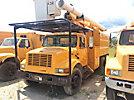 Altec LRV-55, Over-Center Bucket Truck mounted behind cab on 2001 International 4700 Chipper Dump Truck