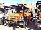 Altec LRV-55, Over-Center Bucket Truck mounted behind cab on 2006 GMC C7500 Chipper Dump Truck