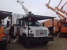 Altec LRV-55, Over-Center Bucket Truck mounted behind cab on 2006 GMC C7500 Chipper Dump Truck